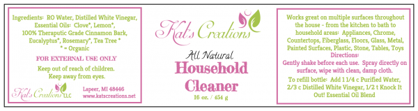 Household Cleaner Label