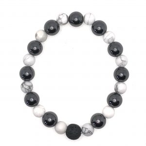 Hematite White Howlite Diffuser Bracelet for sale online