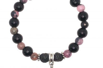 Black Jasper and Rhodonite bracelet for sale online