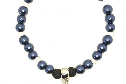 Navy Diffuser Beaded Bracelet with C & I Charm for sale online