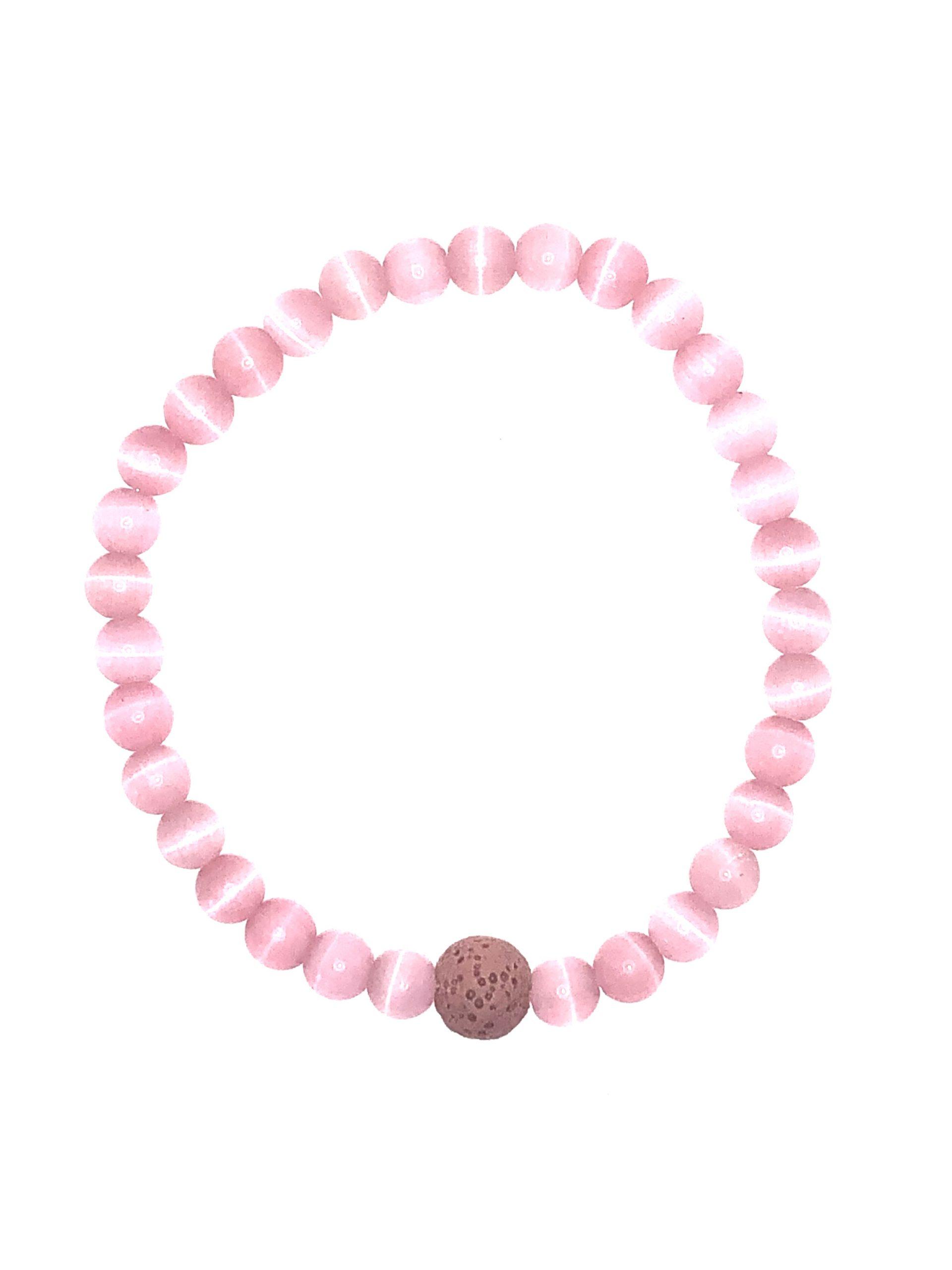 Pink Cat's Eye Beaded Bracelet for sale online
