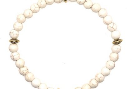 Howlite and Gold Bracelet for sale online
