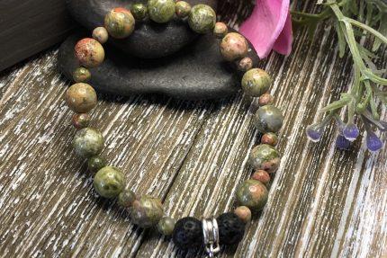 Green Unakite Cross Charm
