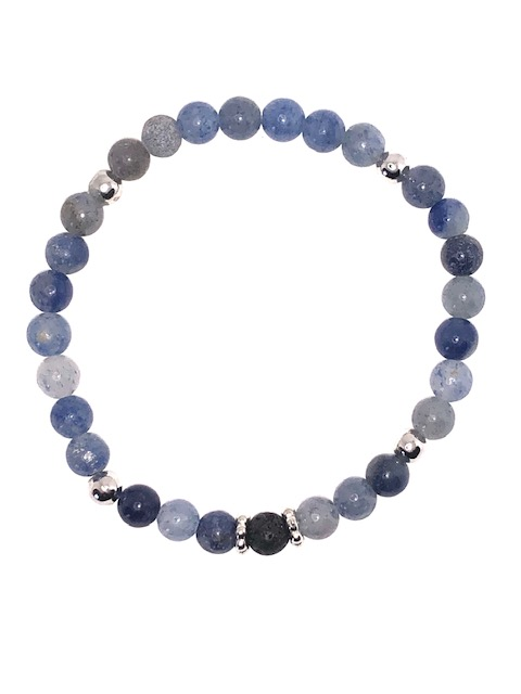 Blue Aventurine and Silver Diffuser Beaded Bracelet for sale online