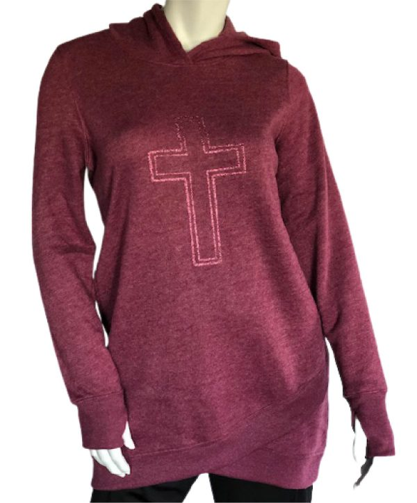Ultra-soft long sleeve hoodie with cross graphics full pic