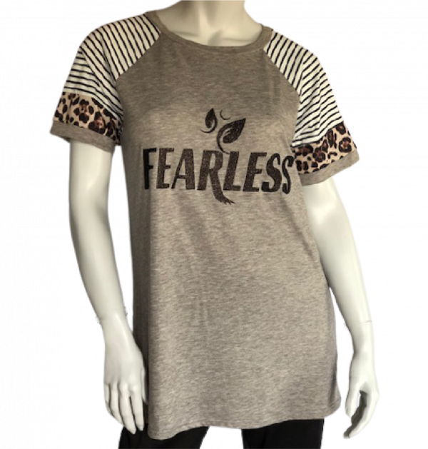 """Women's Short Sleeve """"Fearless"""" Leopard Color Block Casual Tunic"""