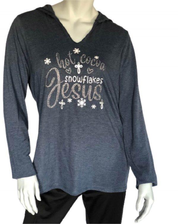 hot cocoa snowflakes Jesus long sleeve hoodie t-shirt