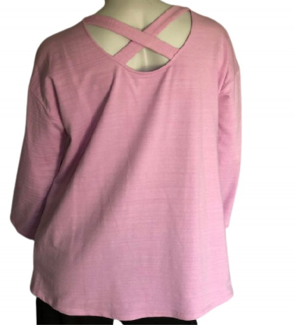 Grace lavender 3/4 length sleeve with open cross back