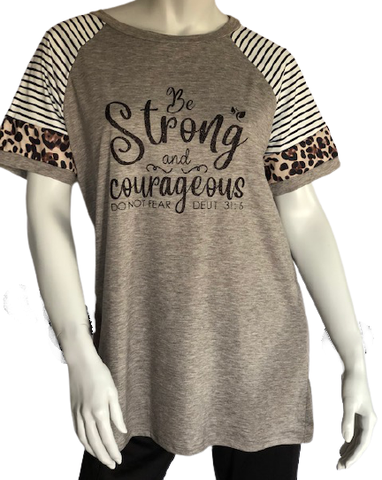 Womens Short Sleeve Leopard Block Casual Tunic Be Strong and Courageous