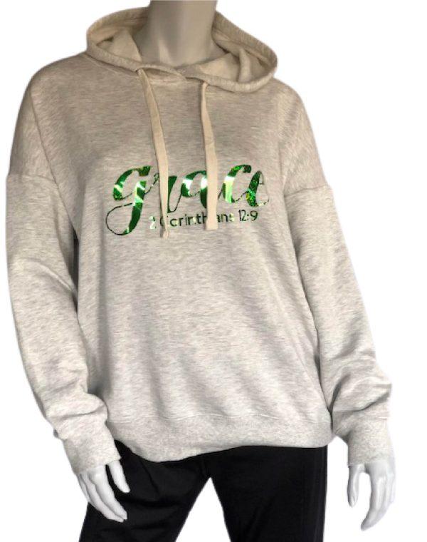 Light Grey Heathered Hoodie Sweatshirt with Green Grace