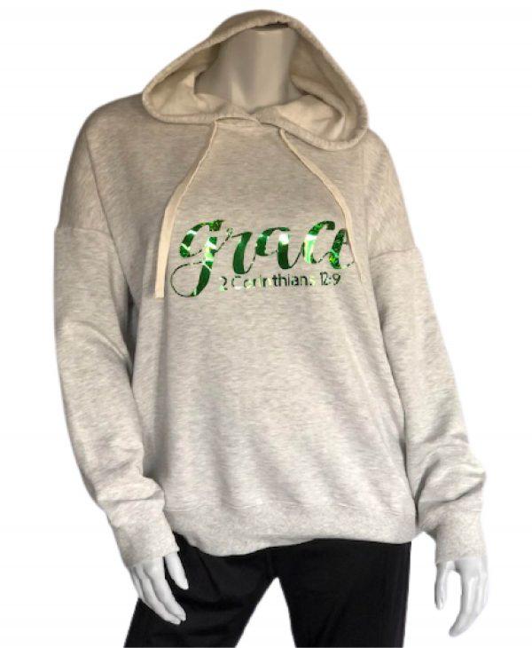 "Light Heather Grey Hooded Sweatshirt with Green ""Grace"""