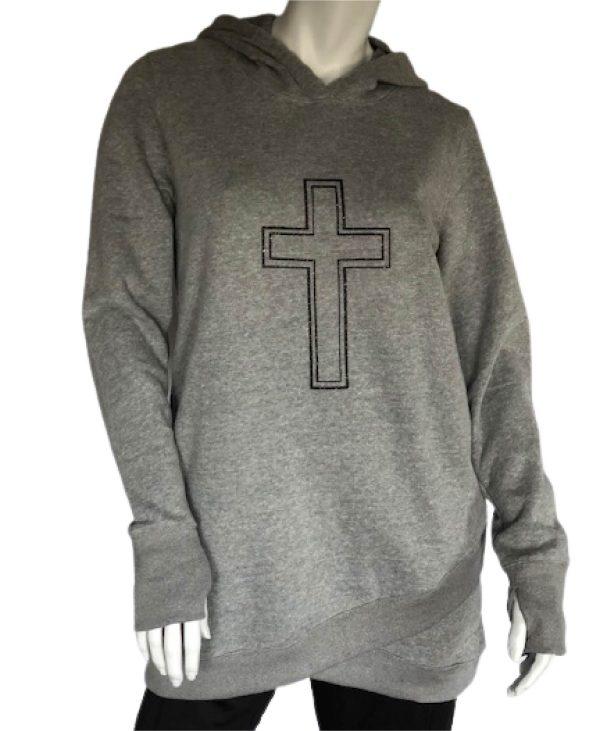 Heather Grey Long sleeve longer length hoodie with cross graphic
