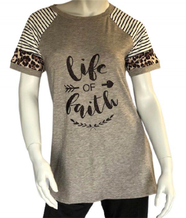 Grey life of Faith Leopard Color Block Short Sleeve Tee