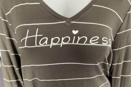 Olive Green striped long sleeve tunic with side slits and Happiness graphic