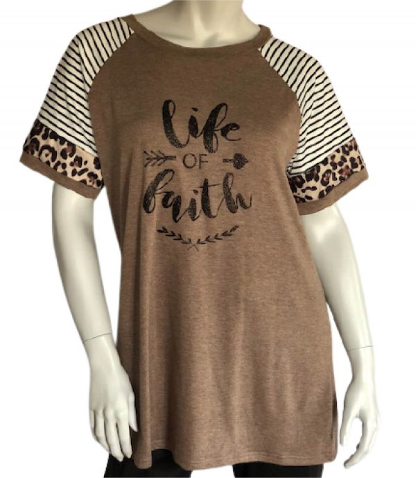 Khaki Life of Faith Leopard Color Block Short Sleeve Tee