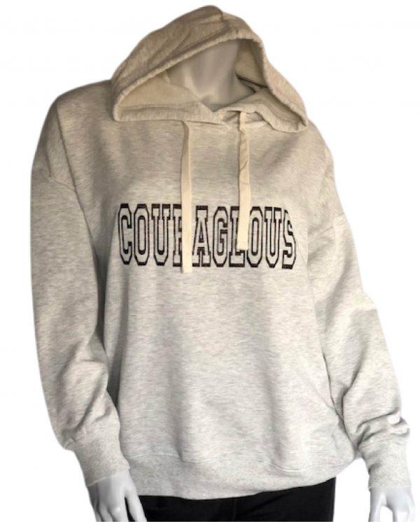 Lt heather grey Courageous womens cozy pullover hoodie sweatshirt