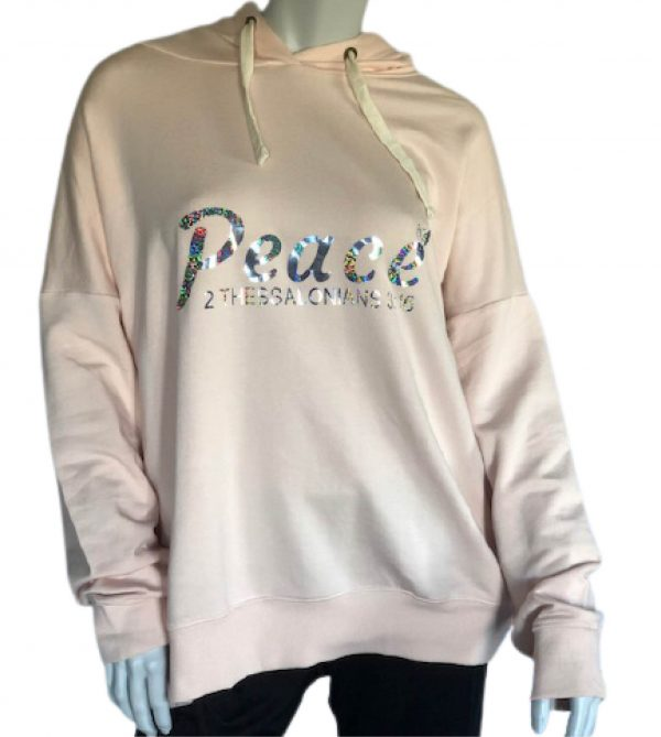Light Pink Hoodie Sweatshirt with Peace Holographic Logo