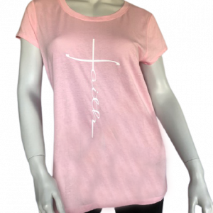 Pink short sleeve tee with faith graphics