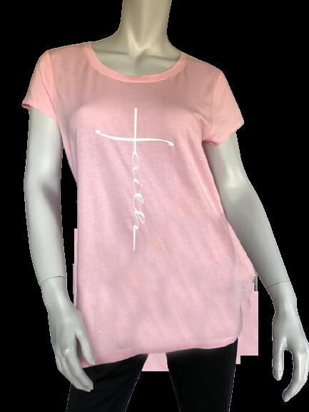 Pink short sleeve tee with faith graphics