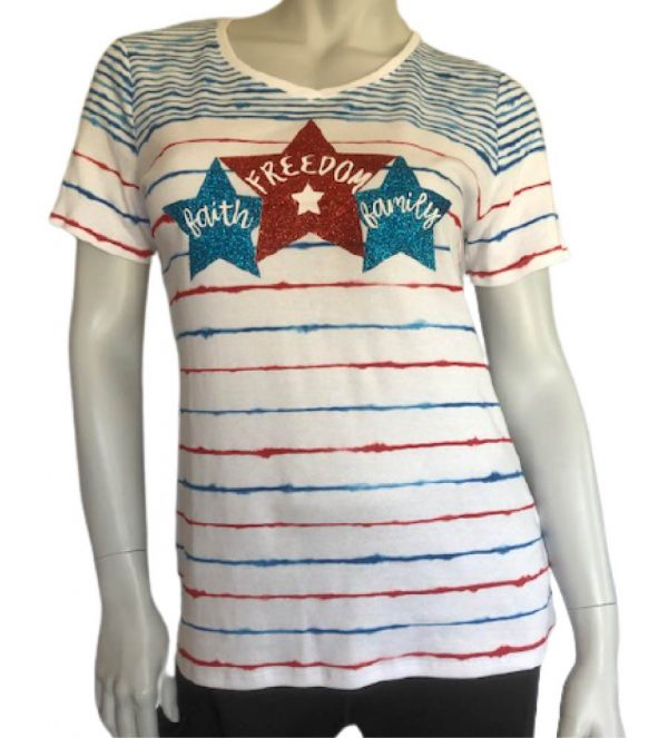 Faith family freedom white t-shirt with red and blue stripes, red and blue glitter stars across the bust