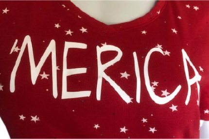 'merica red v-neck, short-sleeve, t-shirt with a spackling of white stars.